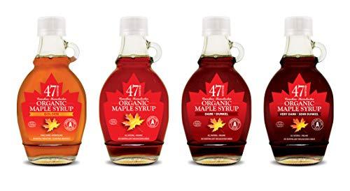 47 North Quadriga: Die gesamte Palette von Kanadischen Single Source Bio Ahornsirup, Golden, Amber, Dark & Very Dark, 4x250g
