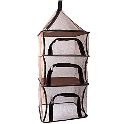 Desy & Feeci Camping Dry Net-4 Layer Outdoor Hanging Foldable Drying Rack, Camping Organizer Mesh Dryer Storage for Home Picnic BBQ Tableware/Dishes/Food/Vegetables/Fruit/Clothing