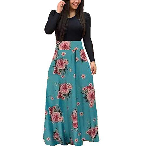 yanghuakeshangmaoyouxiangong Herbst Sexy Sexy Langarm Kleid Rundhalsausschnitt Blumendruck Farbe Passend Frauen S-5xl