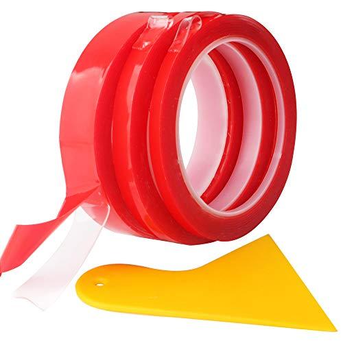 RUNCCI-YUN 3 Rollos 9m Cinta adhesiva de doble cara resistente al agua,Cinta adhesiva de doble cara de acrílico,transparente, fuerte, ideal para la industria automóvil y para el hogar
