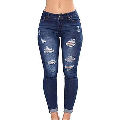 HOSD2019 Women High Waist Casual Denim Ripped Hole Long Jeans Denim Regular Pants Women Button Jeans by HOSD