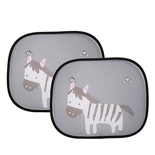 ZYTC 2pcs Parabrezza per Auto Parasole Parasole Automatico con protettore Zebra Pattern per bloccare Raggi UV nocivi e Calore per Bambini Bambino Animali Domestici (Zebra)