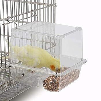 Leap-G Mangeoire À Oiseaux Automatique, Mangeoire Acrylique pour Oiseaux Conteneur De Nourriture pour Oiseaux Transparent, Fixé À L'extérieur Ou À L'intérieur De La Cage Perroquet Fournitures Plateau