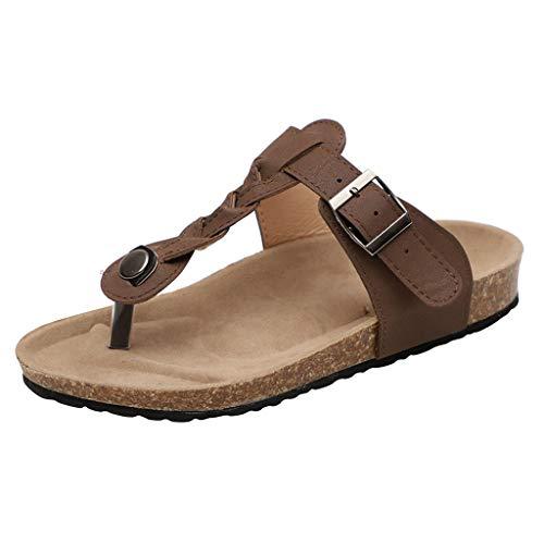 BHYDRY Zapatillas de Playa para Mujer, de Verano, de pie, de Malla Plana, Tejidas, Zapatillas, Zapatos Romanos