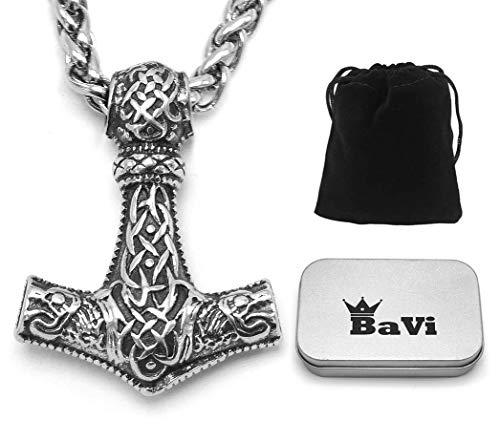 BaviPower Mjolnir - Collar Colgante Martillo Thor