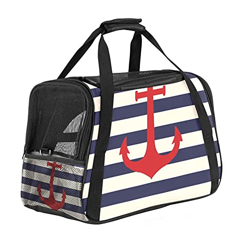 Transportador de mascotas con diseño de ancla de color azul a rayas rojas marinas, transportadores de viaje para gatos, perros y cachorros cómodos bolsa plegable portátil aprobada por aerolíneas
