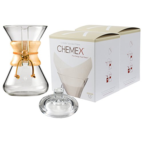 Chemex Classic Wood Collar and Tie Glass 30 Ounce Coffee Maker with Cover and 200 Count Oxygen Cleansed Bonded Square Coffee Filters