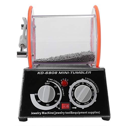 Metal 240 mm / 9,4 pulgadas Eliminación de rebabas Pulido de superficie duradero 150 RPM Máquina pulidora de tambor rodante para joyas de oro y plata(KT6808 barrel polishing machine)