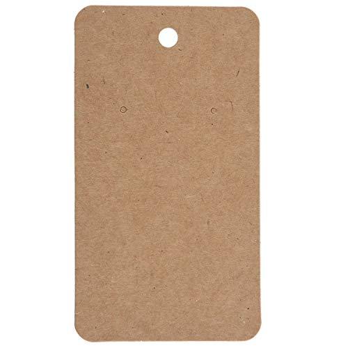 Jcevium 100 piezas de 5 x 9 cm papel kraft en blanco joyería exhibición tarjeta de cartón para pendientes paquete colgante tarjeta marrón