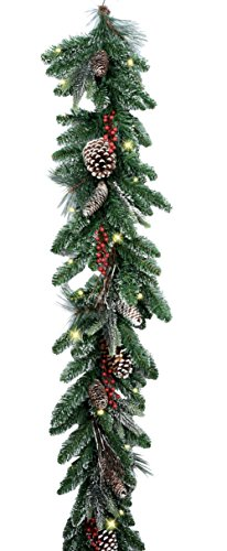 GER 6 Foot Snow Frosted LED Pre-Lit Cordless Christmas Lighted Pine Garland with Red Berries, Twigs and Pine Cones