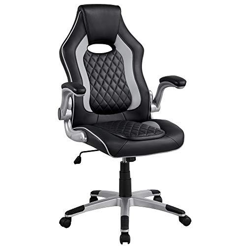 Yaheetech Bürostuhl, ergonomischer Drehstuhl, Gamingstuhl mit klappbaren Armlehnen, Schreibtischstuhl PC Stuhl höhenverstellbar