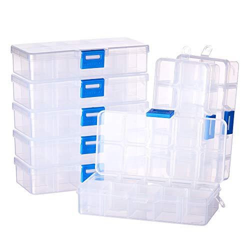 BENECREAT 8 Pack 10 Compartimientos Caja Ajustable de Plástico Contenedor de Almacenamiento para Joyas, Aretes, Abalorios, Pastillas, Piezas de Metal