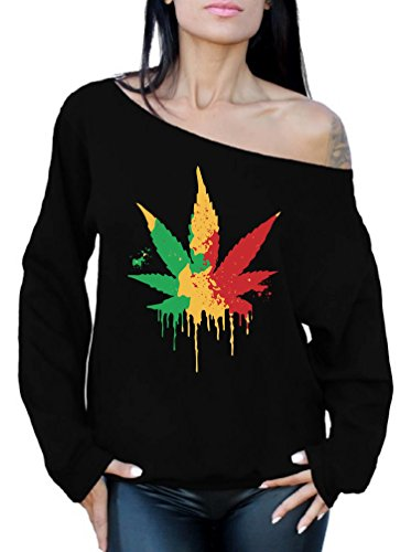 Awkward Styles Women's Rasta Leaf Off The Shoulder Tops for Women Sweatshirts Marijuana Leaf Pot Leaf Black 2XL