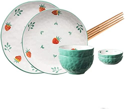 Juego de platos, Combinación de vajillas Combinación de vajillas de fresa 8/10/16/24/32 Utensilios de cocina de ahorro de espacio apilable de porcelana, pueden acomodar a varias personas, adecuadas pa