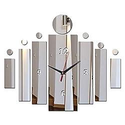 Clocks Wall Clock Mirror Watch Living Room Modern Home Decoration,Black