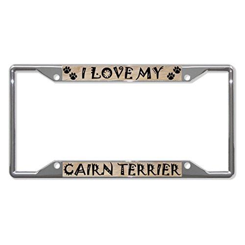 Cairn Terrier Hond Metalen License Plaat Frame Tag Houder Vier Gaten Perfect voor Mannen Vrouwen Auto garadge Decor