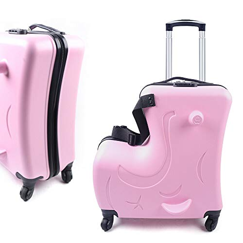 20 Inch Kids Travel Luggage Suitcase Ride on Trolley Suitcase for Children Carry-On Luggage with Wheels Age 1-8 years old Pink