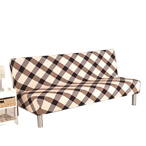 GHP Funda protectora de sofá de poliéster y elastano, de alta elasticidad, fácil de elástico, antideslizante, sin brazos, funda lavable, sin reposabrazos.
