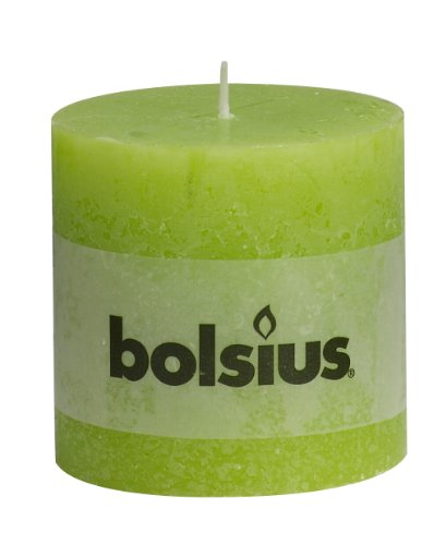 RUSTIC Lime Green Pillar Candle, Paraffin Wax, 10x10x10 cm