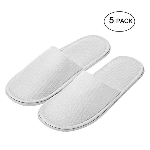 echoapple Waffle Closed Toe White Slippers-Two Size Fit Most Men and Women for Spa, Party Guest, Hotel and Travel (Large, White-5 Pairs)