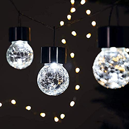Solar Hanging Lights Crackle Glass Hanging Ball Lights Outdoor Lantern Light Ornaments Patio, YardWarm White,Christmas Decoration,Garden Party Christmas led Lights WANGSHAOFENG (Color : White Light)