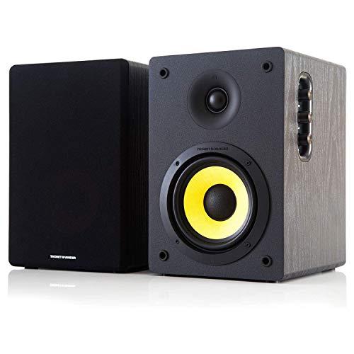 Thonet and Vander Kurbis BT Bluetooth Bookshelf Speakers, Wooden Stereo Speakers with Enhanced Bass, 340 watts PMPO