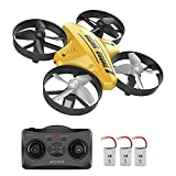 Mini Drone for Kids and Beginners-Remote Control Quadcopter Indoor Helicopter Plane with 3D Flip, Auto Hovering, Headless Mode, 3 Batteries, Best Gift Toy for Boys & Girls,Yellow