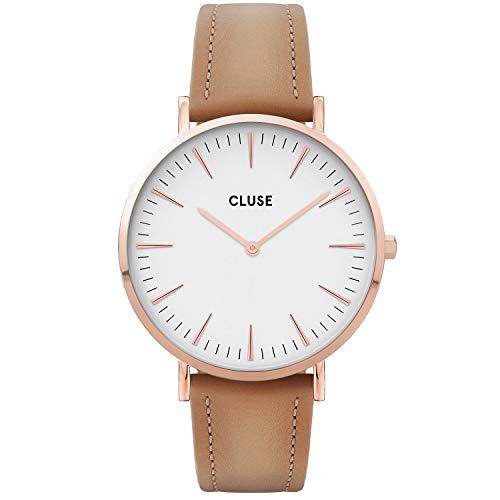 CLUSE dames analoog kwarts horloge met lederen armband CW0101201015