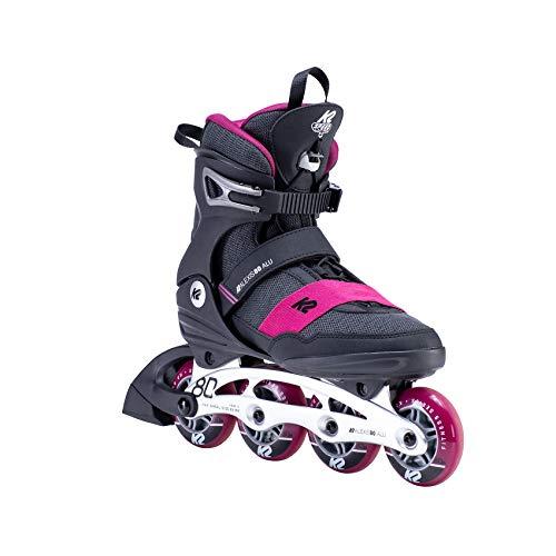 K2 Inline Skates ALEXIS 80 ALU Für Damen Mit K2 Softboot, Black - Pink, 30E0270