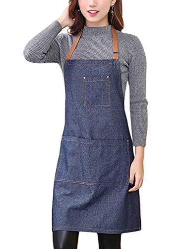 AIVTALK denim schort met drie zakken verstelbare schort voor dames en heren 71 x 65 cm