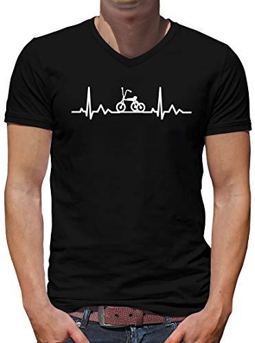 TShirt-People - Camiseta de manga corta para hombre, diseño de latido de triciclo en V Negro XXXL