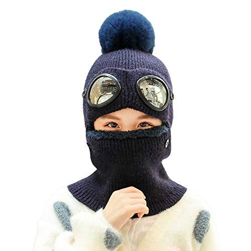 AMHDV Kids Winter Hat,Girls Boys Warm Knit Hat, Earflap Hood Scarf Hat, 5-12 Old (03-Dark Blue)