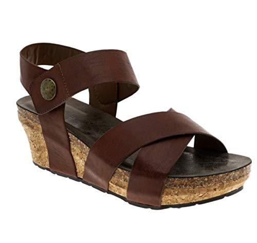 Pierre Dumas Womens Chantal-4 Wedge Sandal (8.5, Whiskey)