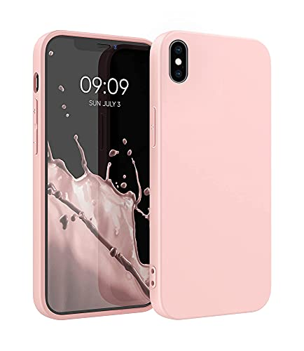 ICOVERI Funda de Silicona Compatible con iPhone X/XS Rosa Arena. Carcasa Compatible con Accesorios Magsafe y Cargador Inalambrico. Tacto Suave, Microfibra Interior.