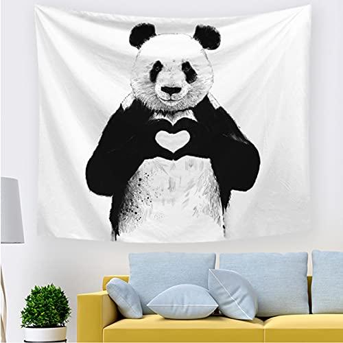 Zoiernuiastrop Negro y blanco panda tapiz colgante de pared panda hippie salón dormitorio decoración 3D impresión color exquisito tapiz de pared 150*200cm