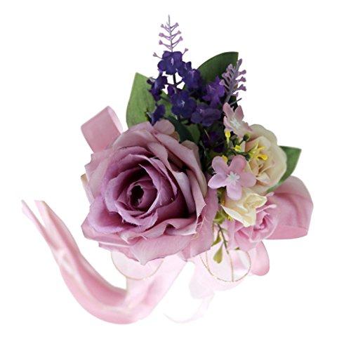 non-brand Encaje de Flor de Seda para Casamiento Adorno de Coche - Rosa empolvado, 32 x 12 x 10cm