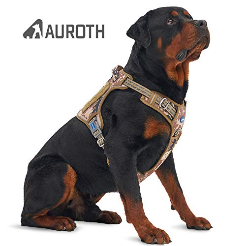 Auroth Tactical Dog Harness No Pulling Adjustable Pet Harness Reflective K9 Working Training Pet Vest Military Service Dog Harness Easy Control for Small Medium Large Dogs