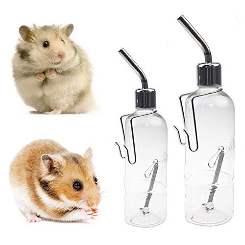 2 botellas colgantes de agua para beber, conejo, chinchilla, pájaro, gato
