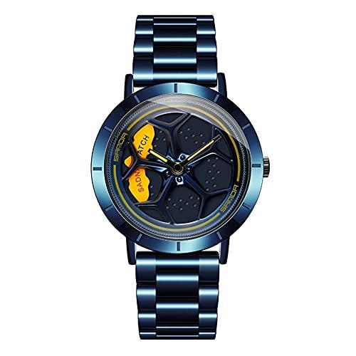 HEEYEE 360 ° rotación reative Deporte Coche Rueda Rueda dial rotativo relogio Masculino Cuarzo de Acero Inoxidable Hombre Reloj Moda Impermeable,Azul