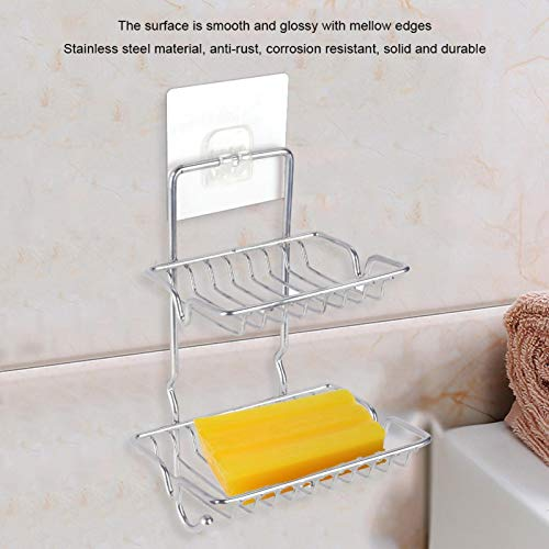 Soporte para Plato de jabón de 2 Capas Soporte para Esponja Soporte para jabón, Rejilla para jabón, para Fregadero de baño Cocina