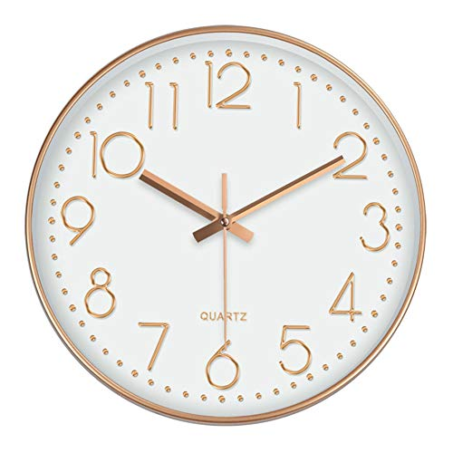 Wall Clock, Outdoor Clock 12 Inch Large Digital Round Wall Clock for Living Room Bedroom Kitchen Children's Room Decor Round Modern Atomic Wall Clock Easy to Read (White Rose Gold),25cm