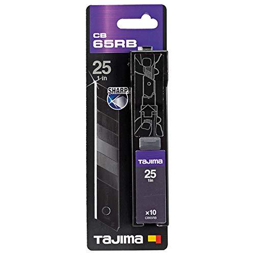 Tajima Ersatzklingen Razar Black Blade für Cuttermesser (10 Stück, Klingen für Cuttermesser, Klingenlänge 126 mm, Breite 25 mm, für Leder, Tapete, Folie, Trockenbau) CB65RB