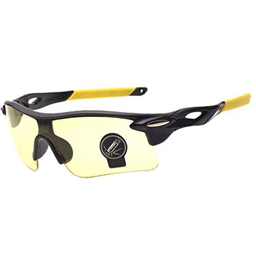 LINNUO Herren Damen Sonnenbrille Polarisiert UV400 Sportbrille Fahrradbrille Sport Brille Outdoor Glasses für Golf Laufen Klettern Skifahren (Gelb, Schwarz Gelb Rahmen,One Size)