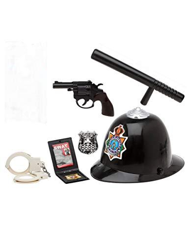 Kit Policía Inglés: Porra, Pistola, Placa, Cartera, Casco y Esposas