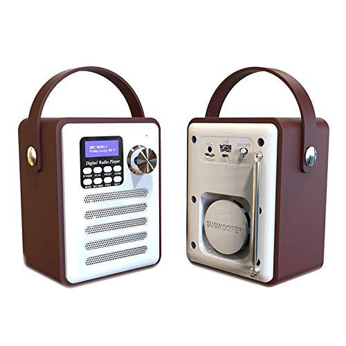Huante - Receptor de radio digital Dab/Dab + sintonizador reproductor de MP3, entrada auxiliar de transmisión de 5.0 FM, soporte tarjeta TF batería integrada