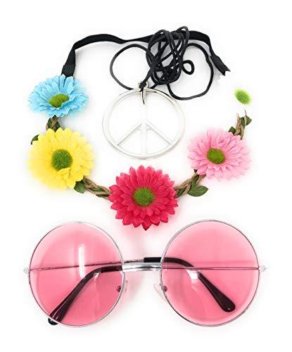 Panelize Hippie Set 3 teilig Rosa Haarband Stirnband mit rosa Brille Flower Power Blumenhaarband