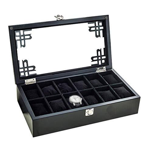 HAILIZI Caja de colección de relojes Caja de madera, reloj tapa de vidrio del reloj 12 joyas de lujo almacenaje de la exhibición pulsera caja de la bandeja de la mancuerna Organizador con 12 Eliminaci