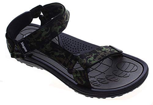 Herren Sandalen Bade Schuhe Eva Sohle Camouflage Tarn Muster Badelatschen leicht flexibel Schwarz Grün Größe 43