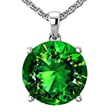 Belinda Jewelz 14k Rhodium Plated White Gold Round Gemstone Sparkling Rope Chain Sterling Silver Birthstone Fine Jewelry Classic Women Hang Pendant Necklace, 3.8 Carat Created Emerald, 18 Inch