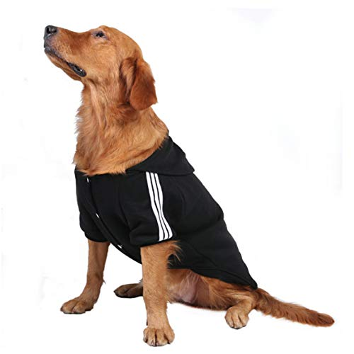 FEimaX Dog Hoodies Warm Coat for Medium Large Dog Pet Clothes Outdoor Apparel Puppy Hooded Sweater Soft Padded T-Shirt Cotton Jumper, with Harness Hole (5XL, Black)